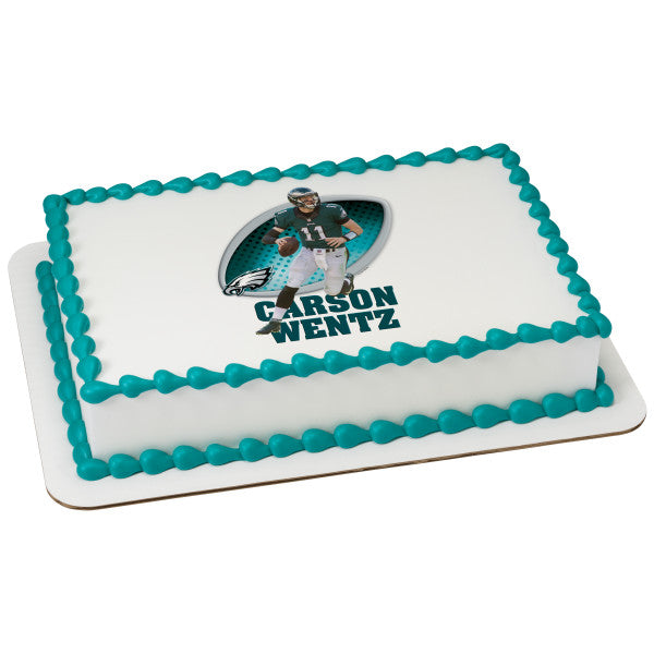 MaArthur's Bakery Custom Cake with Carson Wentz, Eagles Scan