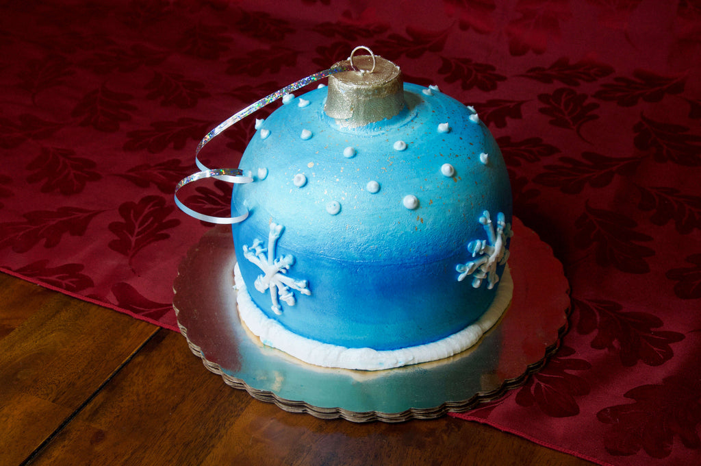 Blue Christmas Ornament Cake
