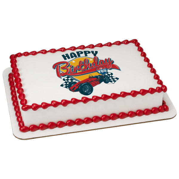 McArthur's Bakery Custom Cake With Racing Car Wishing Happy Birthday