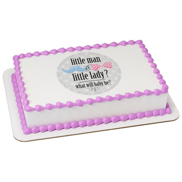 McArthur's Bakery Custom Cake With Question Asking If Baby Will Be Little Man or Little Lady