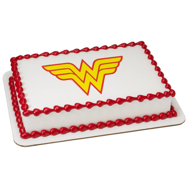 MaArthur's Bakery Custom Cake with Wonder Women Logo Scan