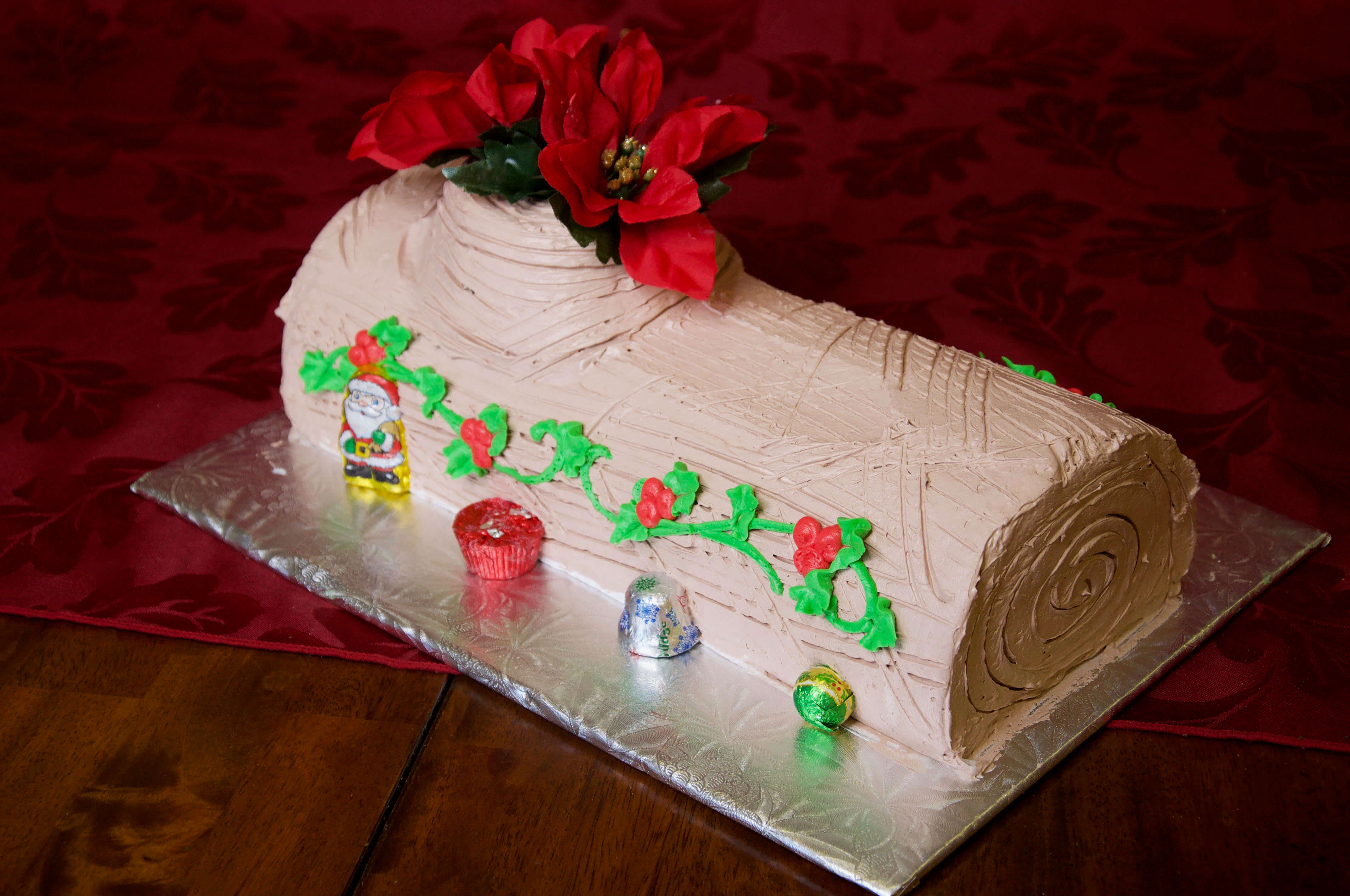 Classic Yule Log with Chocolate Icing