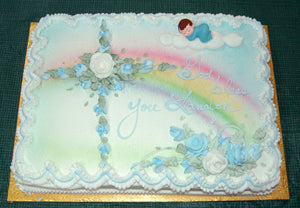 MaArthur's Bakery Custom Cake with Rose Cross, Baby Boy Sleeping in a Cloud