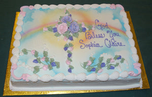 MaArthur's Bakery Custom Cake with Cross of Roses, Rainbows, Sun