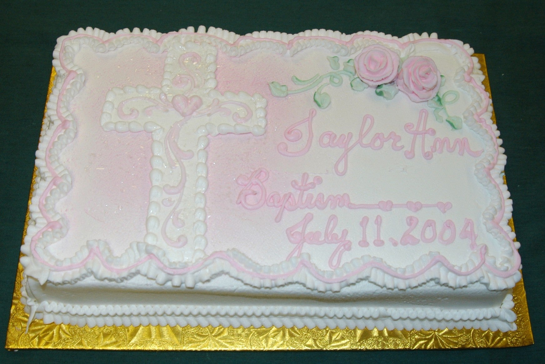Detailed Cross With Roses Cake
