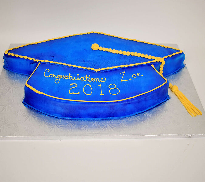 Blue Graduation Cap Cut Out Cake