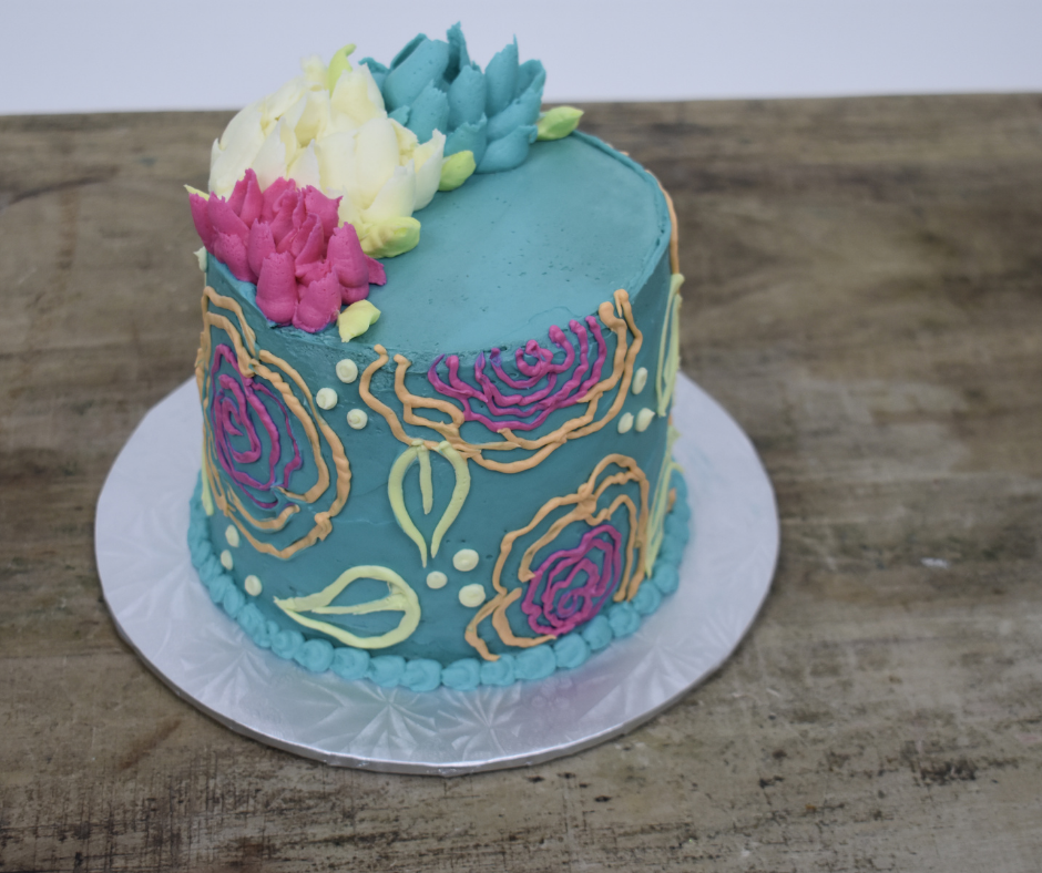 Blue Outlined Flower Cake