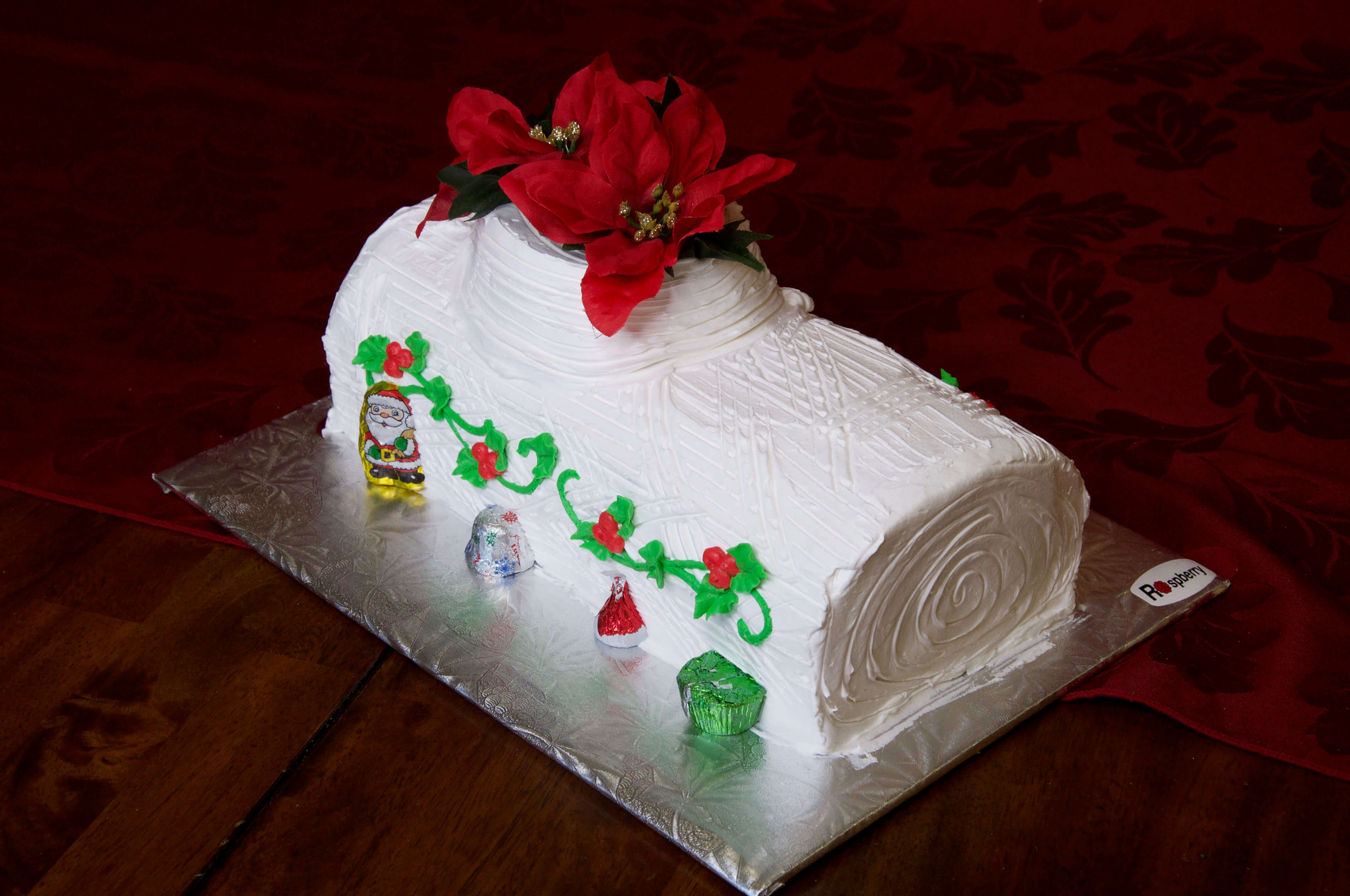 Classic Yule Log with White Icing