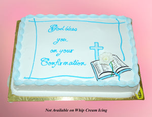 MaArthur's Bakery Custom Cake with Bible, Cross, Blue Writing