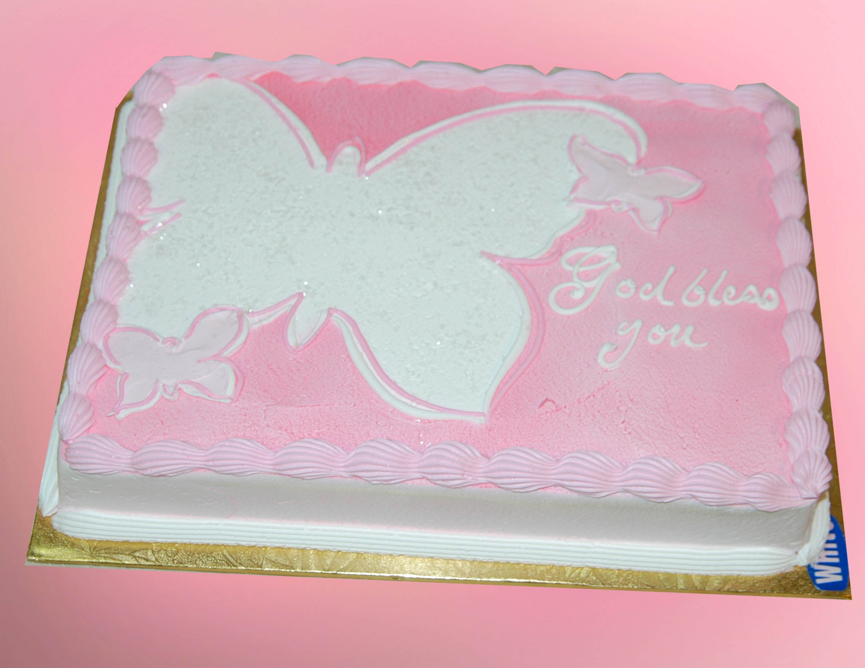 McArthur's Bakery Custom Cake with Pink Background, White Butterfly