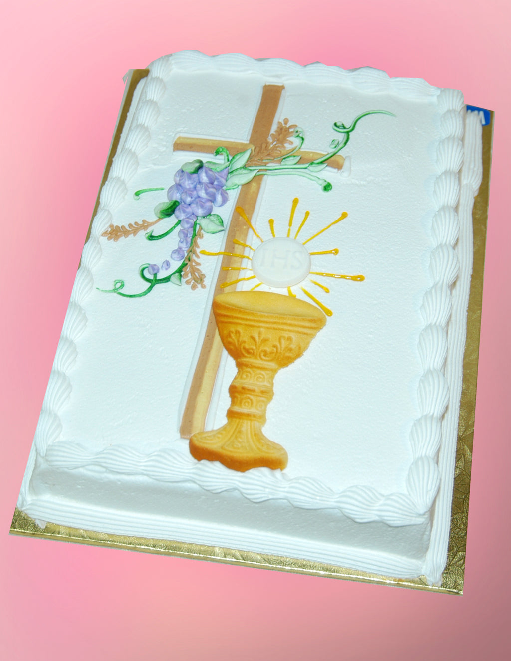 McArthur's Bakery Custom Cake with Cross, Grapes and Chalis
