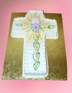 MaArthur's Bakery Custom Cake with Cross Cut out, Roses, Sunray