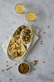 Abstract Concrete Photography Backdrop 2 ft x 3 ft board with hummus and chickpeas