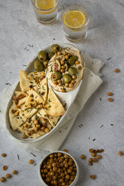 Abstract Concrete Photography Backdrop 2 ft x 3 ft board with a hummus plate with chickpeas