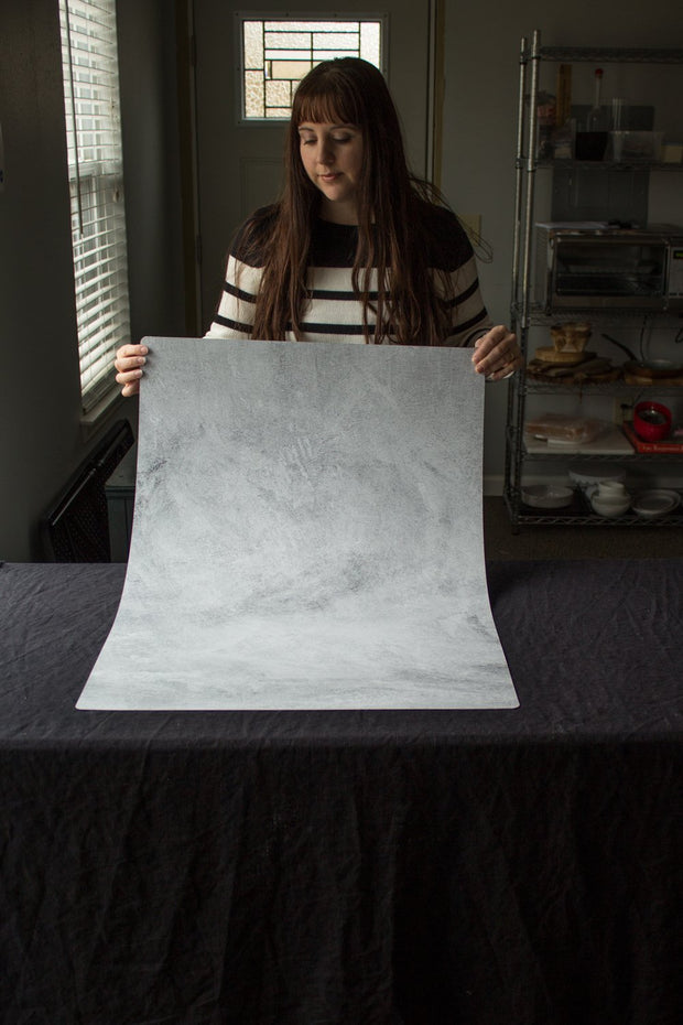 Super-Thin & Pliable Abstract Concrete Photography Backdrop 2 ft x 3 ft | Lightweight, Moisture & Stain-Resistant behind the scenes