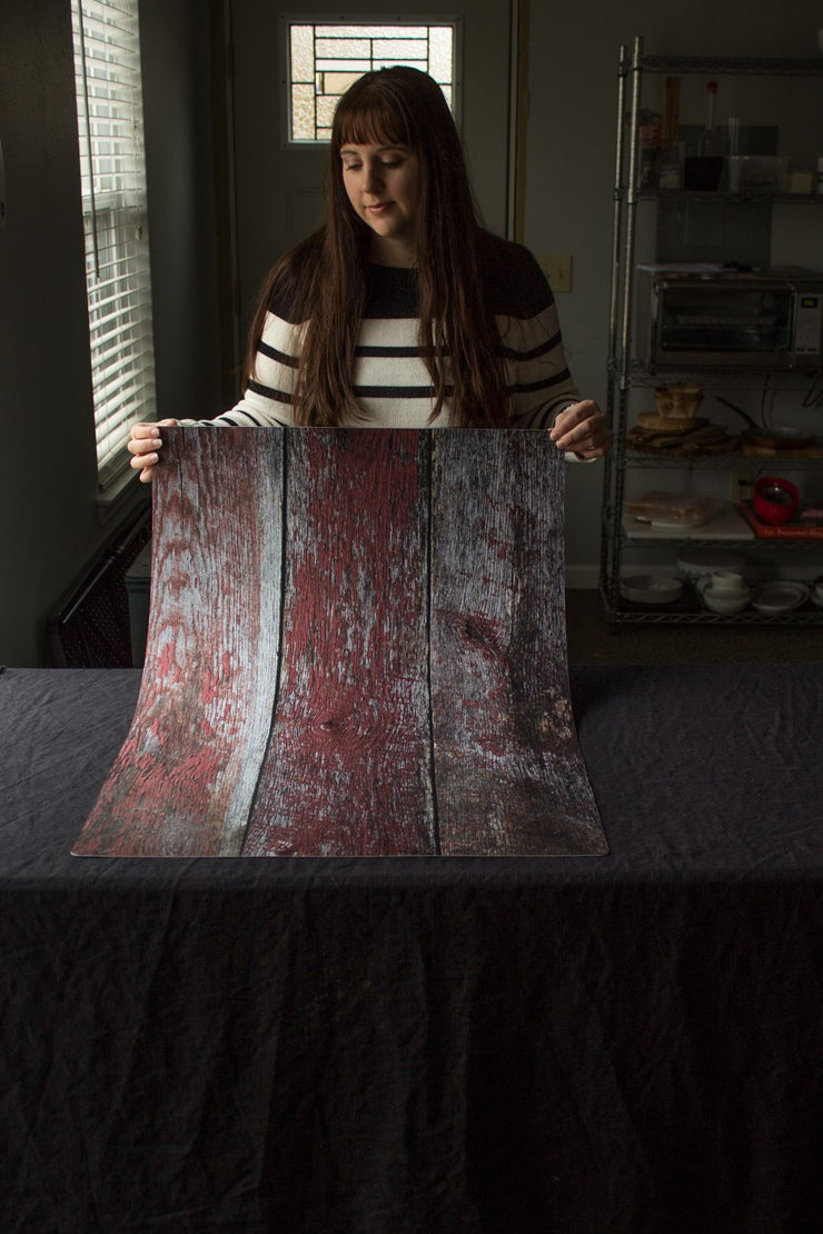 Super-Thin & Pliable Aged Red Barn Wood Photography Backdrop 2ft x 3 ft | Stain & Moisture-Resistant behind the scenes