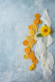 Blue Stone Photography Backdrop 2 ft x 3ft board with oranges and lemons