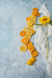 Blue Stone Photography Backdrop 2 ft x 3ft board with lemons and sunflowers