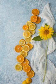 Blue Stone Photography Backdrop 2 ft x 3ft board with lemons and orange slices