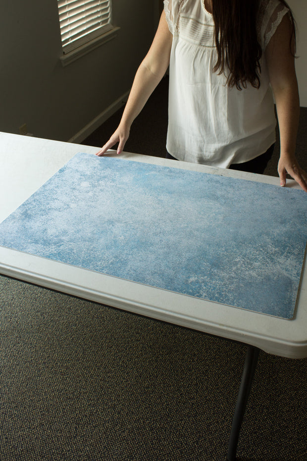 Blue Stone Photography Backdrop 2 ft x 3ft board behind the scenes