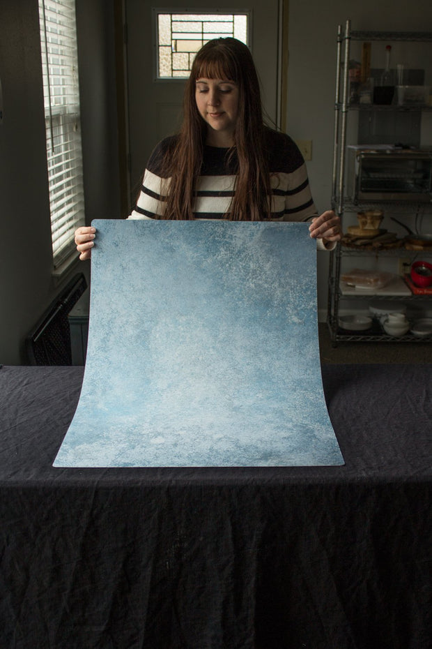 Super-Thin & Pliable Blue Stone Photography Backdrop 2 ft x 3ft, Lightweight, Moisture & Stain-Resistant behind the scenes