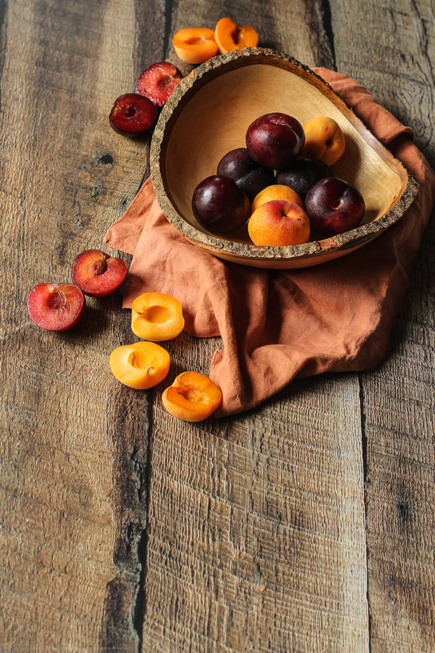 Dark Brown Reclaimed Barn Wood Replica Photography Backdrop 2 ft x 3ft board with apricots in a bowl