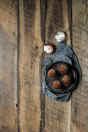 Dark Brown Reclaimed Barn Wood Replica Photography Backdrop 2 ft x 3ft with chocolate cupcakes