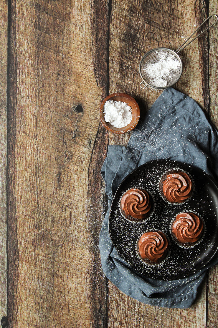 Dark Brown Reclaimed Barn Wood Replica Photography Backdrop 2 ft x 3ft with chocolate cupcakes on a plate