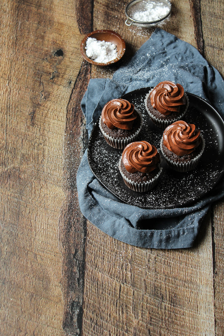 Dark Brown Reclaimed Barn Wood Replica Photography Backdrop 2 ft x 3ft board with 4 chocolate cupcakes