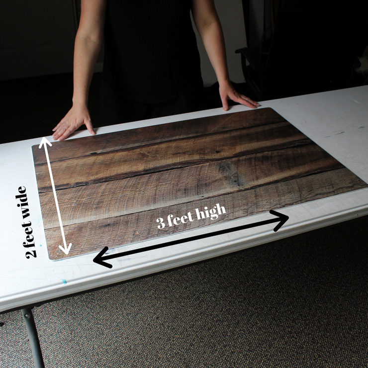 Dark Brown Reclaimed Barn Wood Replica Photography Backdrop 2 ft x 3ft board behind the scenes