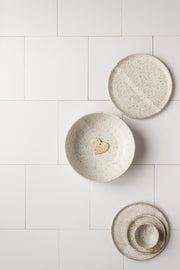 Creamy White Tile Replica Photography Backdrop with white pottery plates and bowls