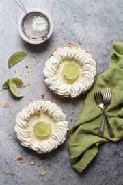 Gray Concrete Photography Backdrop 2 ft x 3 ft | 3 mm thick physical board with key lime pie and linen napkin