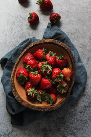 Gray Concrete Photography Backdrop 2 ft x 3 ft | 3 mm thick with strawberries in a wooden bowl