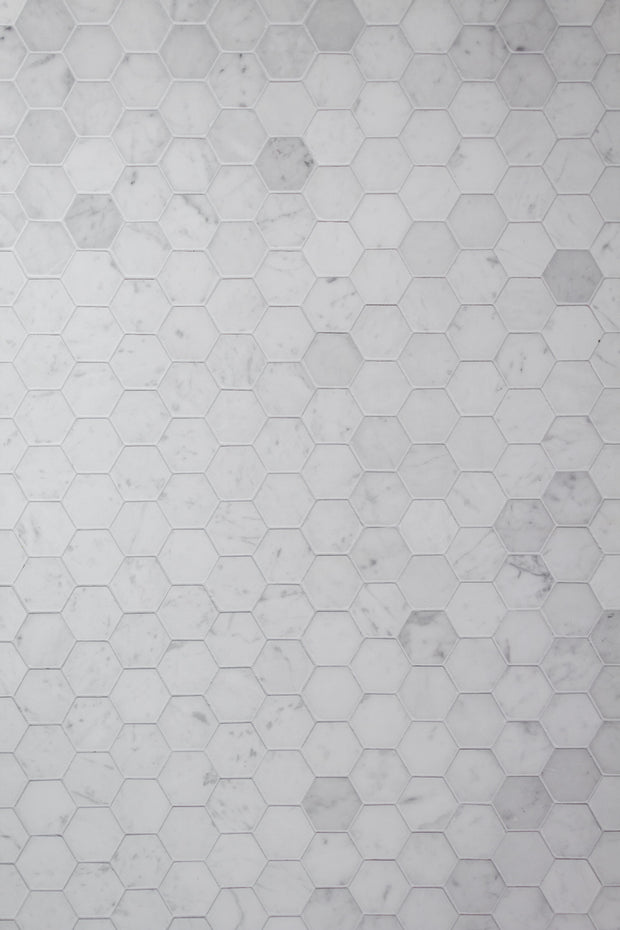 Super-Thin Marble Hexagon Tile Replica Photography Backdrop