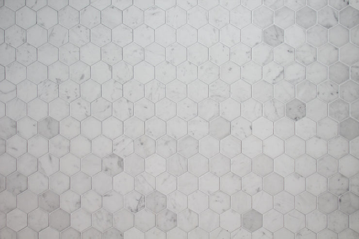 Super-Thin Marble Hexagon Tile Replica Photography Backdrop horizontal
