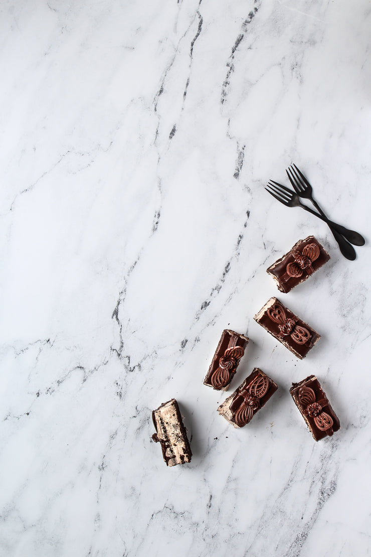 Marble Backdrop Board for Photography 2 ft x 3ft | 3 mm thick with chocolate mousse cake slices