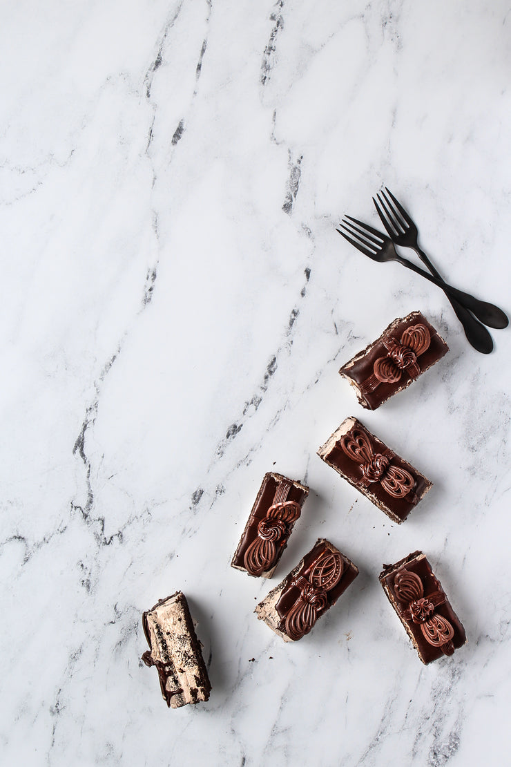 Marble Backdrop Board for Photography 2 ft x 3ft | 3 mm thick with chocolate mousse cake slices and forks