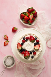 Super-Thin & Pliable Pink Marble Photography Backdrop 2 ft x 3 ft, Lightweight, Moisture & Stain-Resistant and a chantilly cake with berries