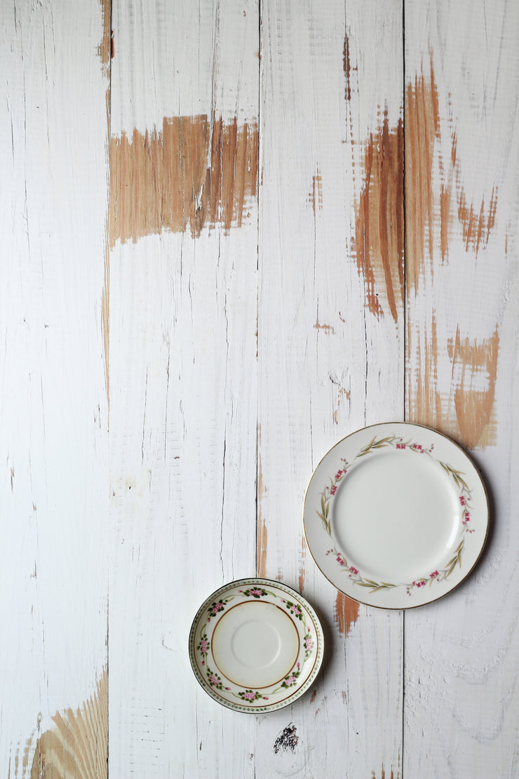 Whitewashed Reclaimed Wood Photography Backdrop 2 ft x 3 ft board | 3 mm thick with two antique plates
