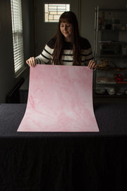 Super-Thin & Pliable Pink Marble Photography Backdrop 2 ft x 3 ft, Lightweight, Moisture & Stain-Resistant behind the scenes