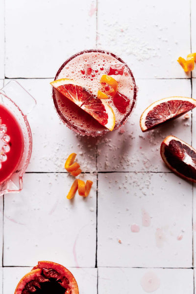 Red Moroccan drink with blood oranges on Moroccan Tile Replica Photography Backdrop