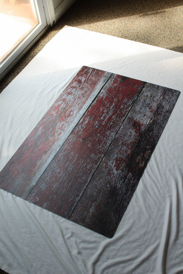 Aged Red Reclaimed Barn Wood Photography Backdrop 2 ft x 3ft board | 3 mm thick behind the scenes
