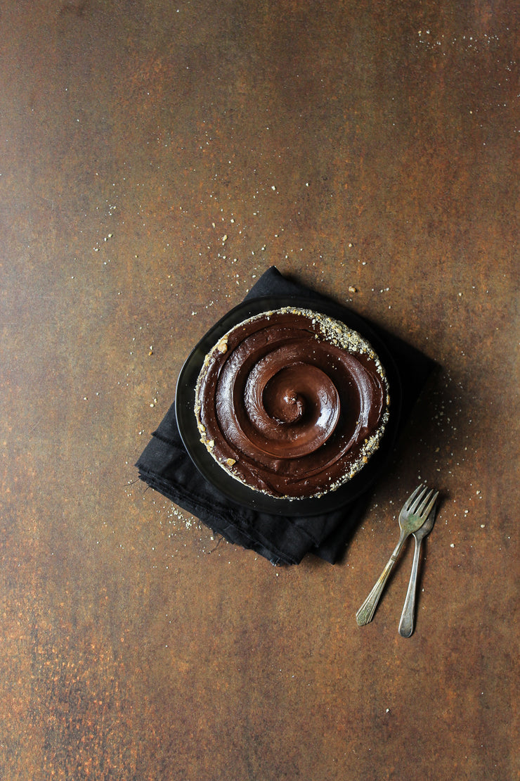 Rusty Metal Photography Backdrop 2 ft x 3ft board with chocolate cake