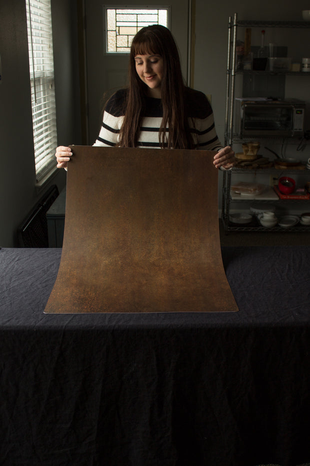 Super-Thin & Pliable Rusty Metal Photography Backdrop 2 ft x 3ft, Lightweight, Moisture & Stain-Resistant behind the scenes