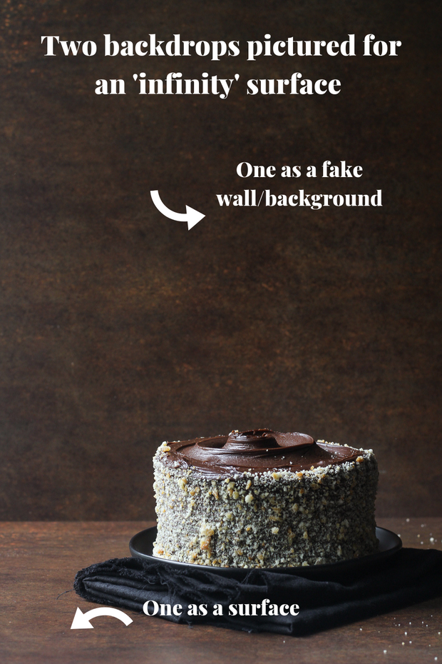 Rusty Metal Photography Backdrop 2 ft x 3ft board with a small chocolate cake