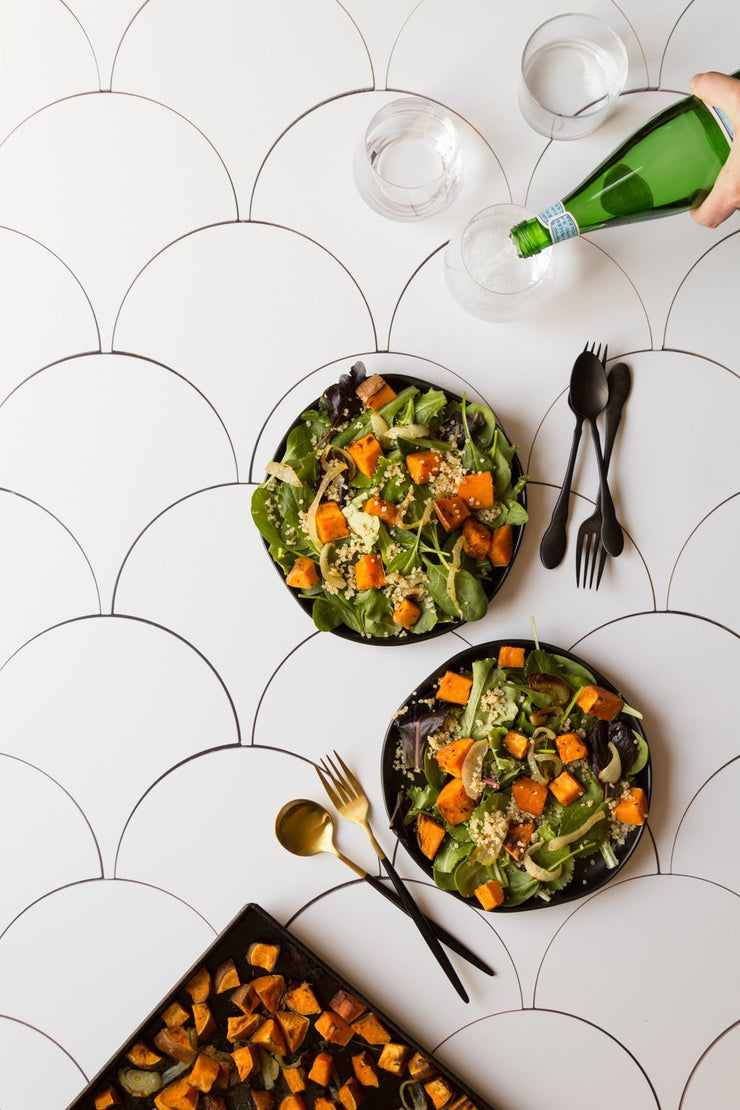 Squash salad and sparkling water in glasses on a Super-Thin & Pliable Scalloped Tiles Replica Photography Backdrop
