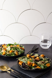 Green salads with butternut squash with a Super-thin & pliable scalloped tile photography backdrop
