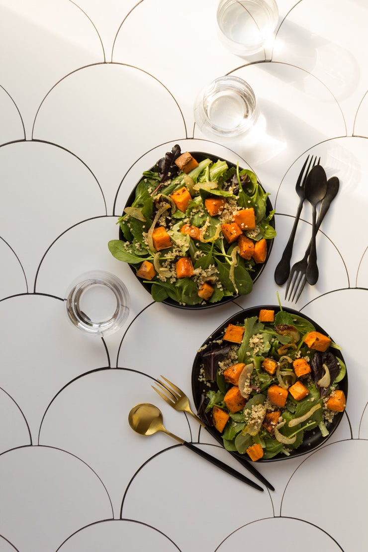 Squash salads with sparkling water in glasses on a Super-Thin & Pliable photography backdrop