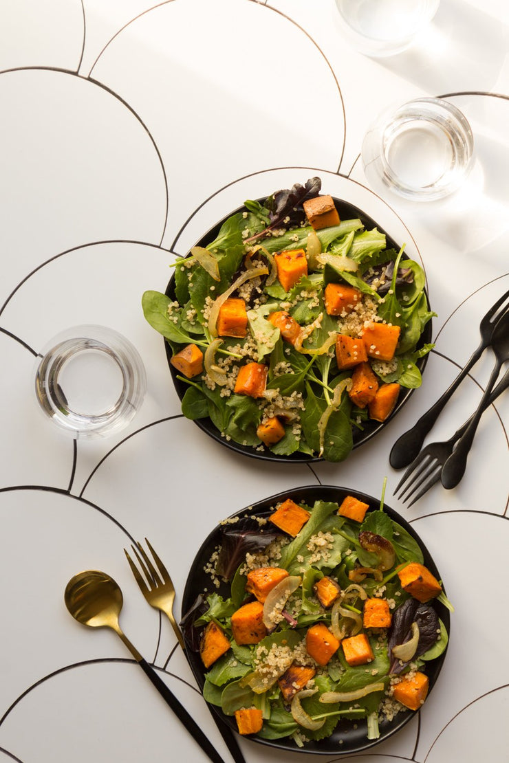 Butternut Squash salads on a diagonal on a Super-Thin & Pliable photography backdrop