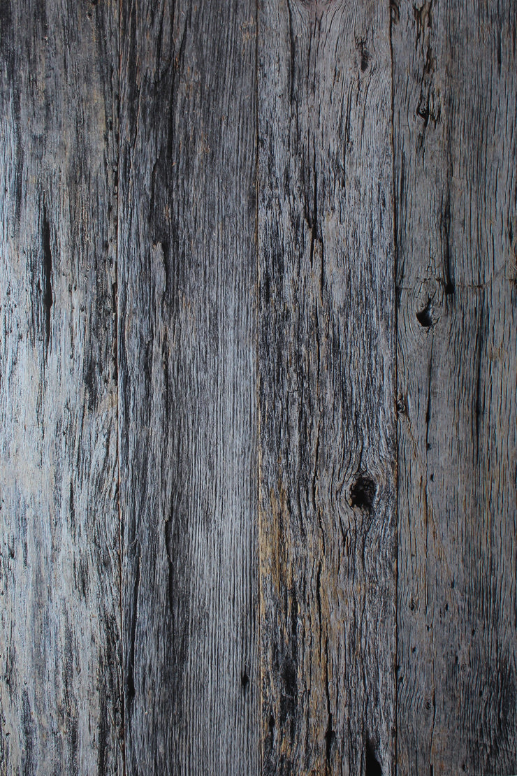 Super-Thin & Pliable Silver Blue Reclaimed Wood Replica Photography Backdrop 2 ft x 3 ft, Moisture & Stain-Resistant
